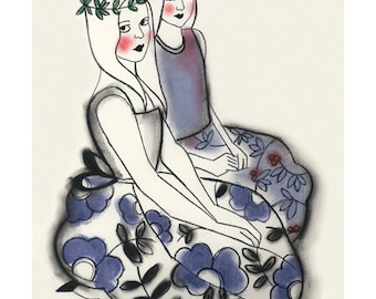 "Fashion illustration art print  Wood Nymphs  - 4"" X 6"" "" print - 4 for 3 SALE"