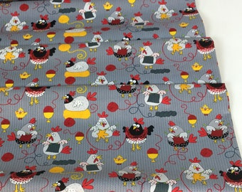 Knitting Chickens ~ Knitting Chickens Collection ~ Timeless Treasures Collection, Cotton Quilt Fabric