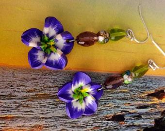 Purple Hawaiian Flower Earrings