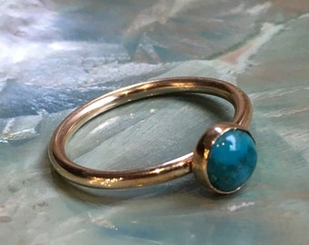 Turquoise ring, December birthstone ring, Gold ring, Gold Filled ring, stacking ring, custom ring, dainty ring, stone ring - So happy R2454