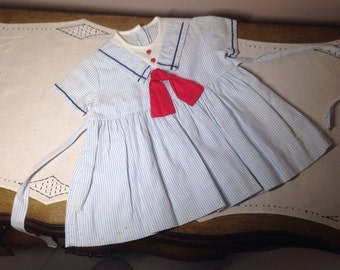 Vintage Baby Dress Nautical Sailor Blue, White red Cotton Toddler Girls