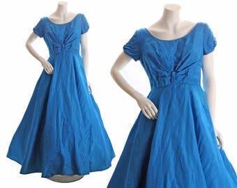 1950s Full Length Formal Blue Sharkskin Dress by Emma Domb - L