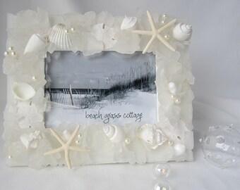 "Beach Wedding Seashell Frame, Sea Glass Frame, Coastal Beach Glass Frame, WHITE 8x10"""