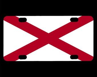 Bicycle License Plate, Alabama Flag Design, AL State Flag, United States, USA, Mini License Plate, Bike Tag