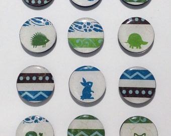 Woodland Critters Fridge Magnets / Refrigerator Magnets / Magnet Set / Animal Magnets / Owl Rabbit Turtle Bird Squirrel Hedgehog