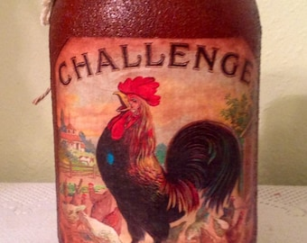 Mason UpCycled Quart Jar. Rooster Decor Country Home Rooster Lover Housewarming   Gift Prim Rusty  Rooster Jar  Country Kitchen Prim Decor