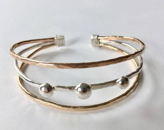Tricolor Hand forged Cuff Bracelet