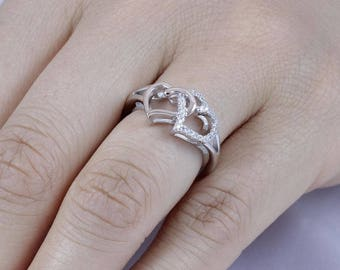 925 Sterling Dual Color Hearts CZ Stone Wedding Engagement Ring Size 4-11 SS785