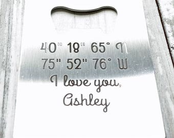 Coordinates Wallet Bottle Opener Engraved Personalized