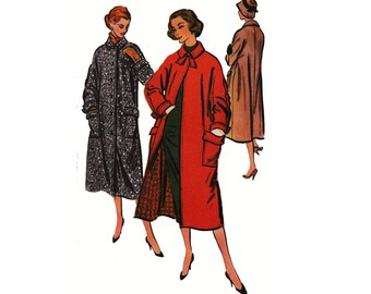 """1950's McCall's 3842 Woman's Trench Coat with Dolman Sleeves and Patch Pockets Size 14    Bust 34""""/ 86  cm    Vintage Sewing Pattern"""