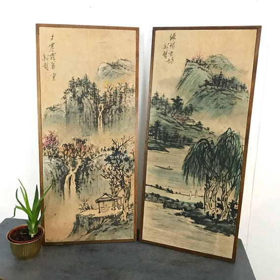 vintage Asian wall panels - watercolor linen painting - chinoiserie landscape diptych - framed wall art - Set of 2
