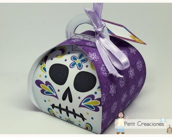 "PRINTABLE Curvy keepsake gift BOX ""Sugar Skull Calavera"" DIY, treat box, place holder, gift idea for party"