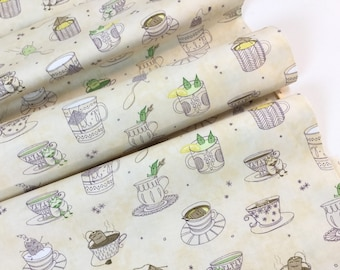 SALE ~By the Yard ~Teacups Cream Color, Tea-RRIFIC Collection designed by Alicia Jacobs for Quilting Treasures, Quilting Cotton Fabric