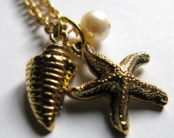 Antique Gold plate plated Starfish conch sea shell sale freshwater pearl nautical necklace charms boho pendant vintage boho bohemian hippie