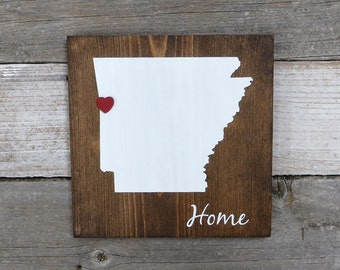 """Rustic Hand Painted """"Home State"""" Wood Sign, Arkansas State Home, Home State Pride - 9.25""""x9.25"""" All States Available"""