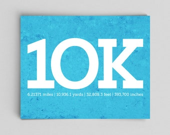 10k Running Print Running Poster Runner Girl 10k Running 10k Runner Gifts for Runners Gifts Typographic Print Marathon Gifts Marathon Sign