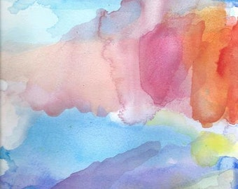 Abstract Art Print, Rainbow Sky