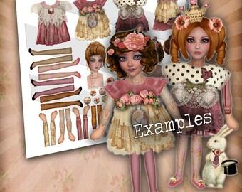 Bedruckbar, Papier-Puppen, Digital, Collage Blatt, rosa Vintage Puppen, verändert Kunst-Puppe, Vintage bedruckbar, Decoupage Papier, Handwerk-Blatt
