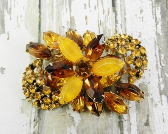 Vintage Rhinestone Brooch Root Beer Amber Signed Richard Kerr Topaz Navettes Gold Tone Finish Sparklykreations
