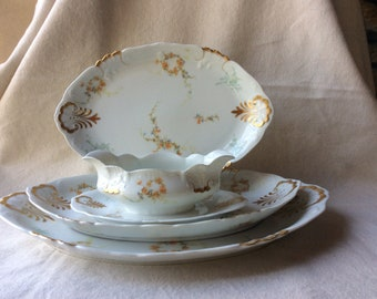French Heirloom Porcelain Gravy Boat and Platters - Serving Pieces - 4 Pc. Set