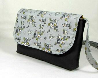 Floral cotton bag, small messenger bag, grey and yellow crossbody bag, womens shoulder bag, adjustable strap, mothers day gift