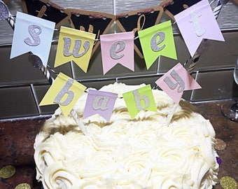 Sweet Baby Banner Cake Topper/Pastel Rainbow Sweet Baby Banner Topper