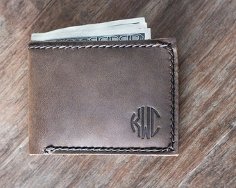 Monogram Wallet, PERSONALIZED Gifts for Men, Father's Day Gift, Leather Wallet, Groomsmen Gifts, Gifts for Him, Mens Wallets - Listing #024