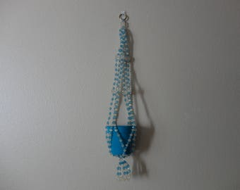 VINTAGE blue beaded PLANT HANGER with blue pot