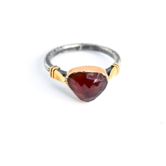 Silver Garnet Ring, Oxidized Ring, Natural Garnet Ring, Statement Ring, Garnet Ring, January Birthstone, Mothers Day Gift, Garnet Jewelry