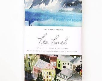 Iceland- Watercolor Tea Towel