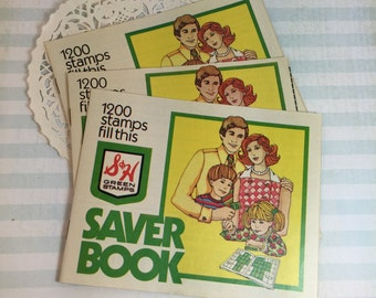 S & H Green Stamps Booklet / 1 Vintage Green Stamps Book -Empty-Great Ephemera for Mixed Media, Collage, Altered Art, Journals, SmashBooks+