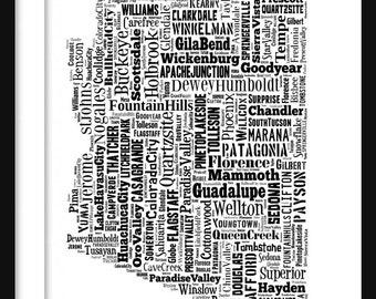 Arizona Typography Map Print Poster