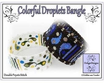 Beading Peyote Pattern, Tutorial, Bangle - COLORFUL DROPLETS