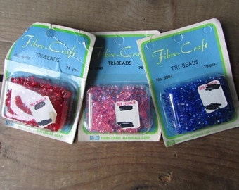 Tri Beads 3 Packs VIntage Fibre Craft
