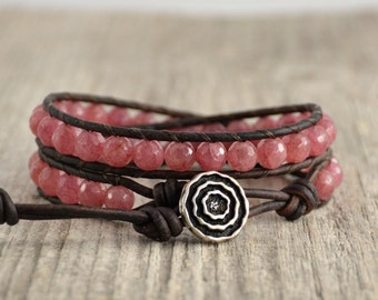 Beaded wrap bracelet. Pink boho bracelet. Girlfriend gift