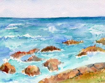 Aruba Beach watercolor painting original, lovely sea with rocky beach, small Ocean Art 5 x 7 inches, modern seascape paintings