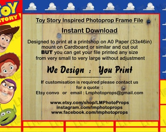 Toy Story Inspired Frame File, INSTANT DOWNLOAD, DIY, Printable, Large Photo Prop File, Photo Booth File, Theme Party, Movie, Kids Party