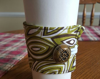 Reusable Coffee or Tea Wrap Around Sleeve in Olive Green, Brown Leaf Shaped Abstract Swirl/Coffee Cup Cozy/Reusable/Mug Cozy