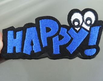 Iron On Patch - HAPPY Patches Blue Happy Letter with Eye patch Applique embroidered patch Sew On Patch