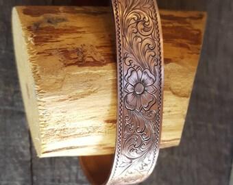 Hand engraved, Copper cuff bracelet