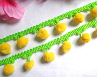 Pom Pom Fringe, 1 inch wide apple/yellow selling by the yard