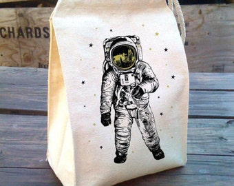 Space Lunch Bag, Astronaut lunch Bag, Man on the moon, kids Lunch Box, School lunch, Cotton Canvas lunch bag, washable reusable lunch bag