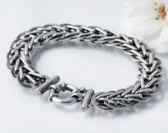 Vintage Sterling Silver Chain Bracelet | Heavy Braided & Textured Chain, Large Bolt Ring Clasp | 925 Silver Bracelet - 6.5 Inch Wrist Size