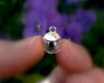 Glass Pendants w/Simple Sterling Silver Saucer Cap 8/10/12/14mm (small/bulbs/balls/.925/vials/miniature/bottles/globes/round/clear/lids/caps