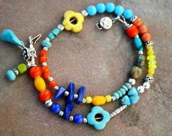 CHANDLER Turquoise, Howlite, Magnesite, Jade, Czech Glass, and Sterling Bracelet