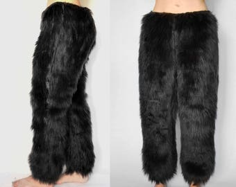 Black Fur Pants - Black Fur Costume Pants, Fur Pants for Men, Black Cat Costume Pants