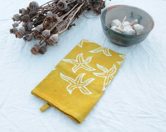 chartreuse yellow starfish batik tea towel