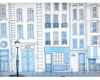 Paris print, illustration, home decor, paris gift, romantic, love