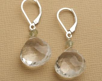 Crystal Quartz Earrings, Gemstone Sterling Silver Earrings, Clear Crystal Earrings, April Birthstone Earrings, Silver Leverback Earring