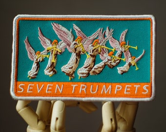 Seven Trumpets Patch | Sew on | Embroidery | Patches for Jackets | Christian Patch | Bible Patch | Tumblr Patch | Cute Patch | Faith Patch
